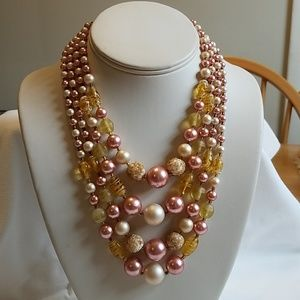 Vintage 1950s Choker Multi Strand Necklace Pink